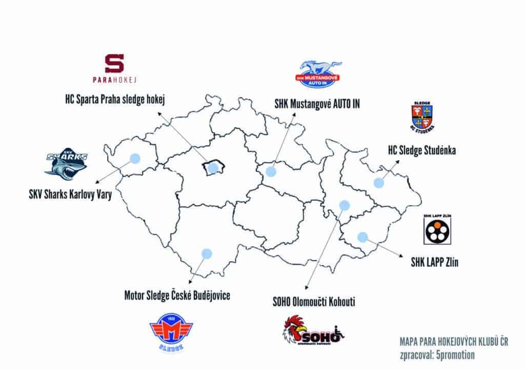 Mapa českých PARA hokejových klubů